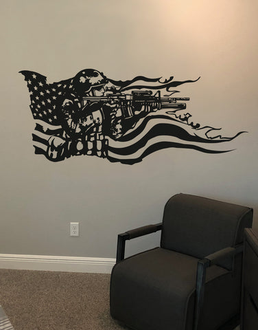 America Flag with U.S. Military Soldier Vinyl Wall Decal Sticker. #GFoster155