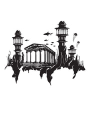 Lost City of Atlantis Fantasy City Wall Decal. #GFoster176