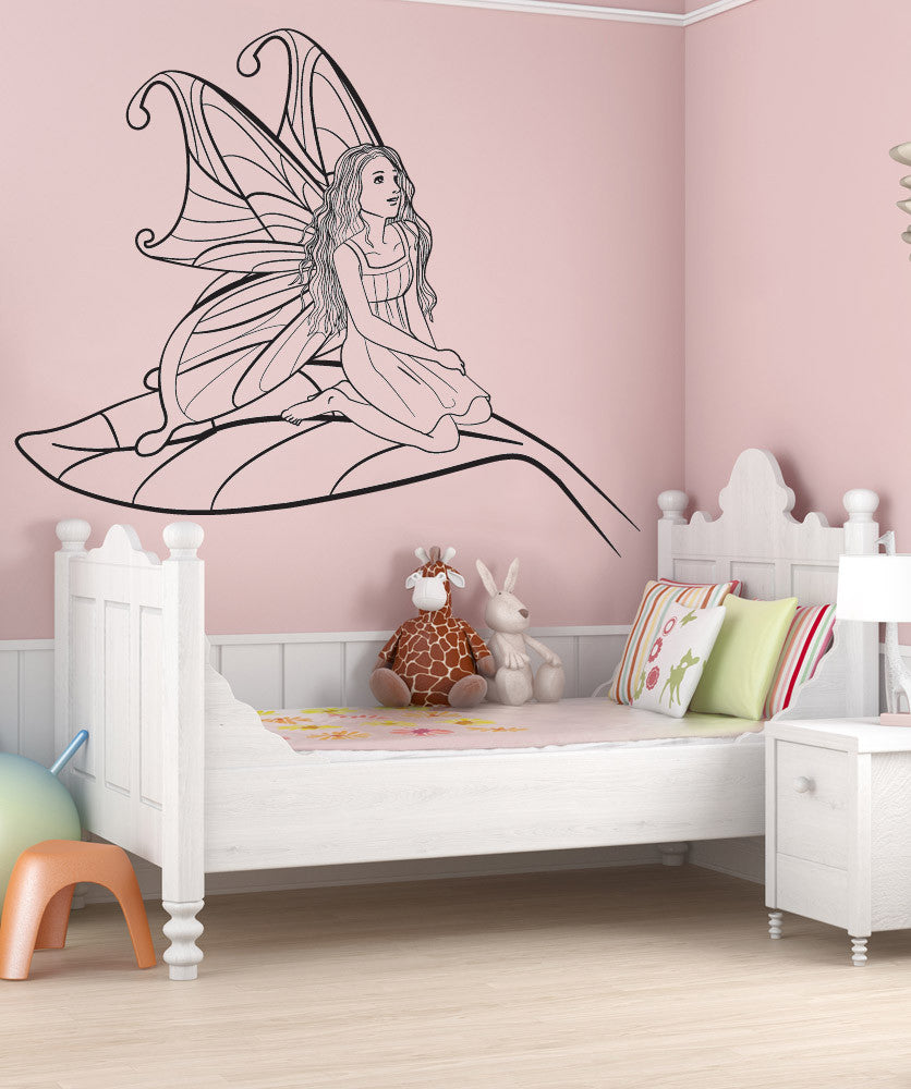 Vinyl Wall Decal Sticker Fairy on Leaf #OS_DC222