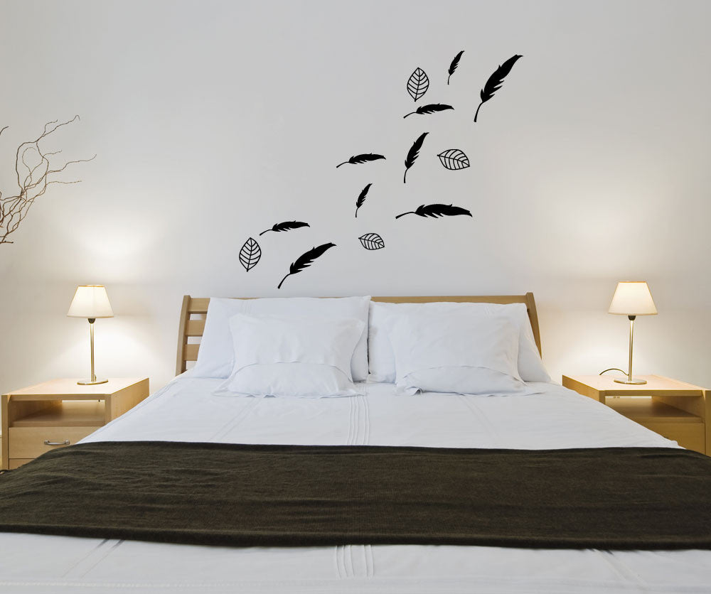 Vinyl Wall Decal Sticker Leaves And Feathers OSMG - Wall decals leaves