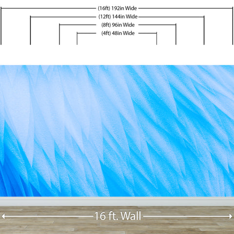 Blue Feather Angel Wings Chalk Art Mural. #6224