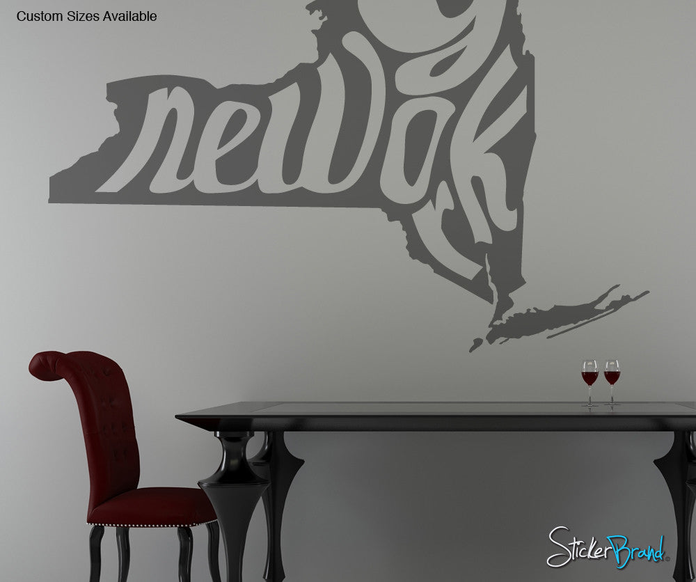 Vinyl Wall Decal Sticker New York State Map OSMB - New york wall decals