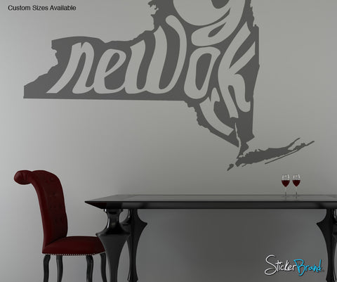 Vinyl Wall Decal Sticker New York State Map #OS_MB170
