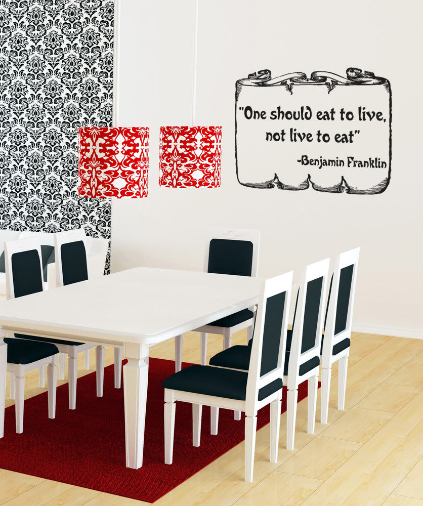 Vinyl Wall Decal Sticker Benjamin Franklin Quote OSAA - Dining room vinyl wall quotes