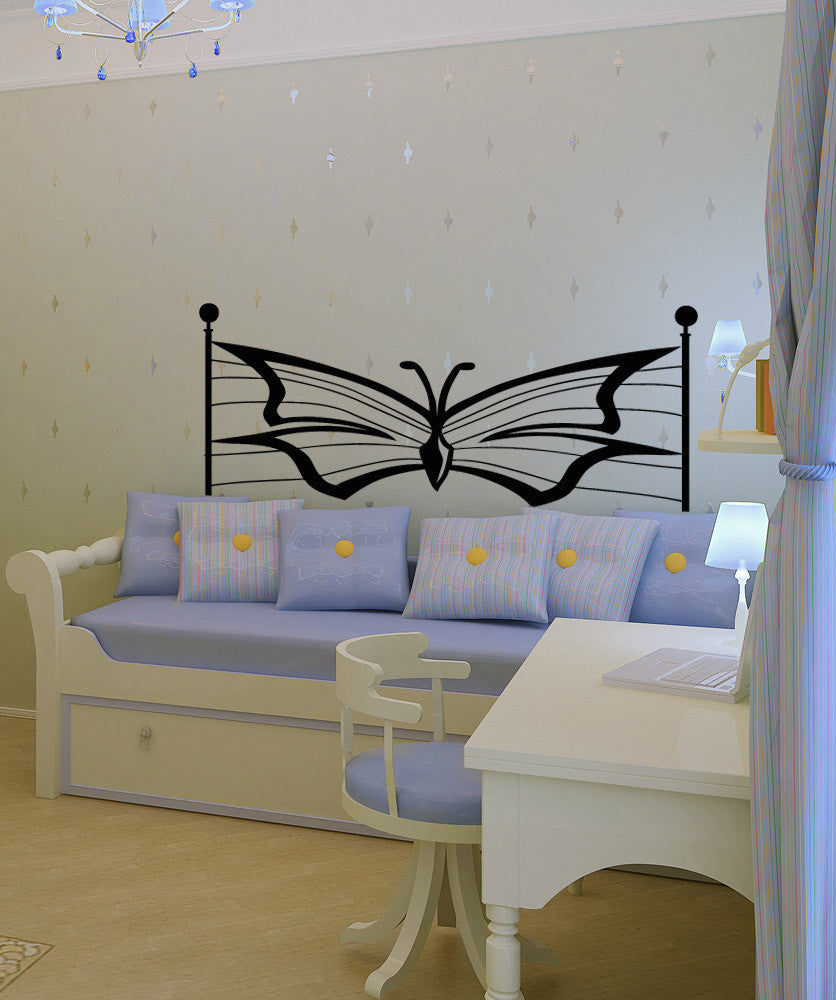 Vinyl Wall Decal Sticker Butterfly Headboard #OS_AA1165