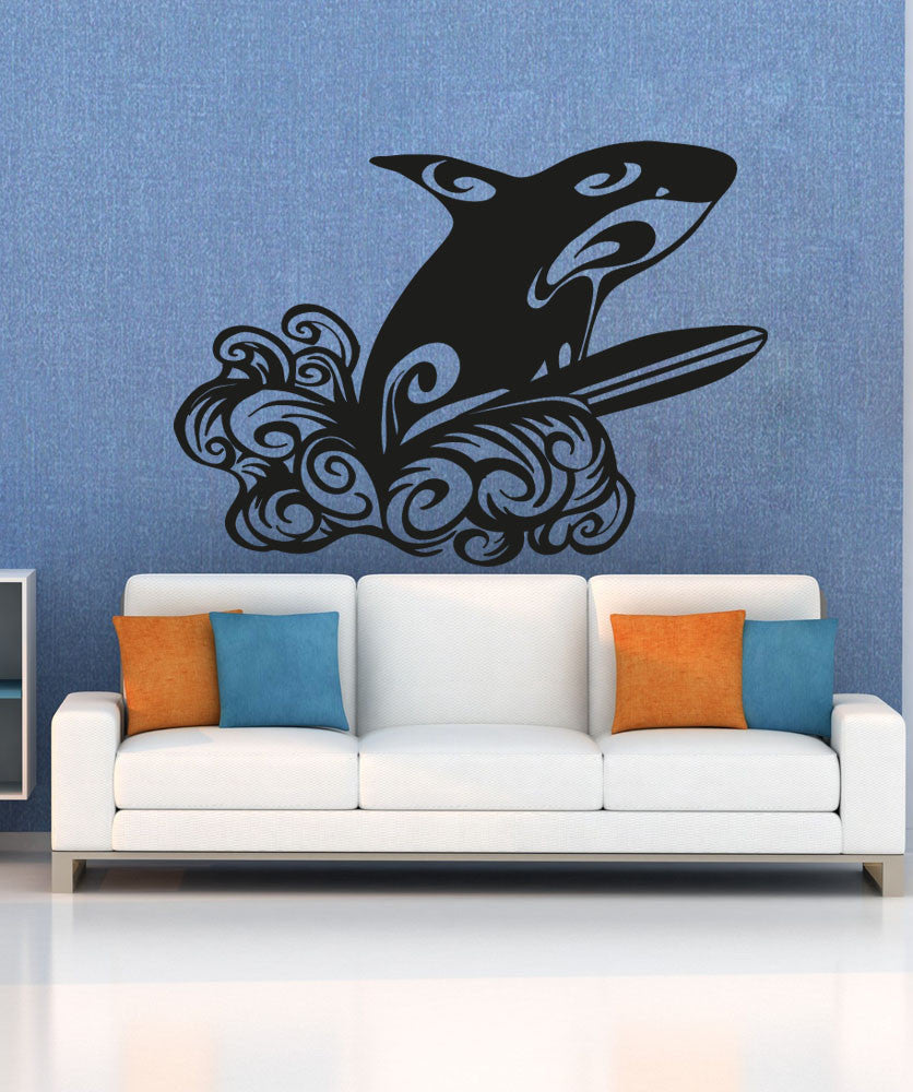 Vinyl Wall Decal Sticker Whale Surfing Os Aa1232