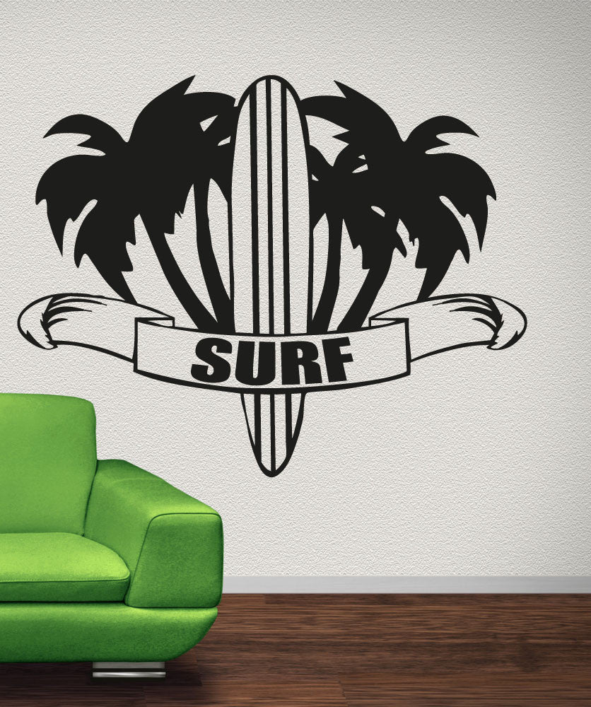 Sports wall stickers sports decals for walls stickerbrand vinyl wall decal sticker palm trees and surf osaa1233 amipublicfo Gallery