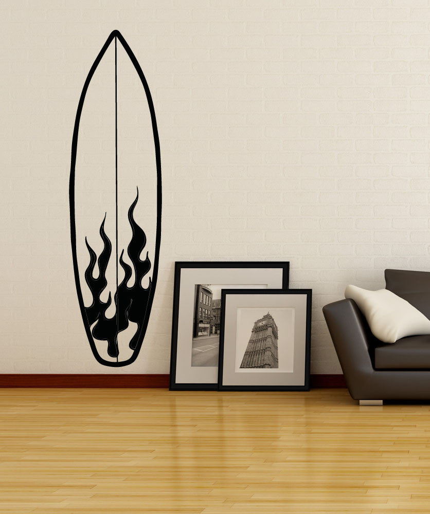 Sports wall stickers sports decals for walls stickerbrand vinyl wall decal sticker fire surfboard osaa1238 amipublicfo Gallery