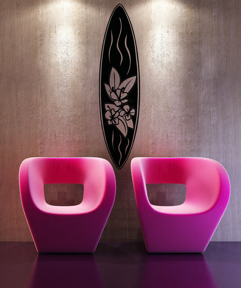 Vinyl Wall Decal Sticker Floral Surfboard #OS_AA1239