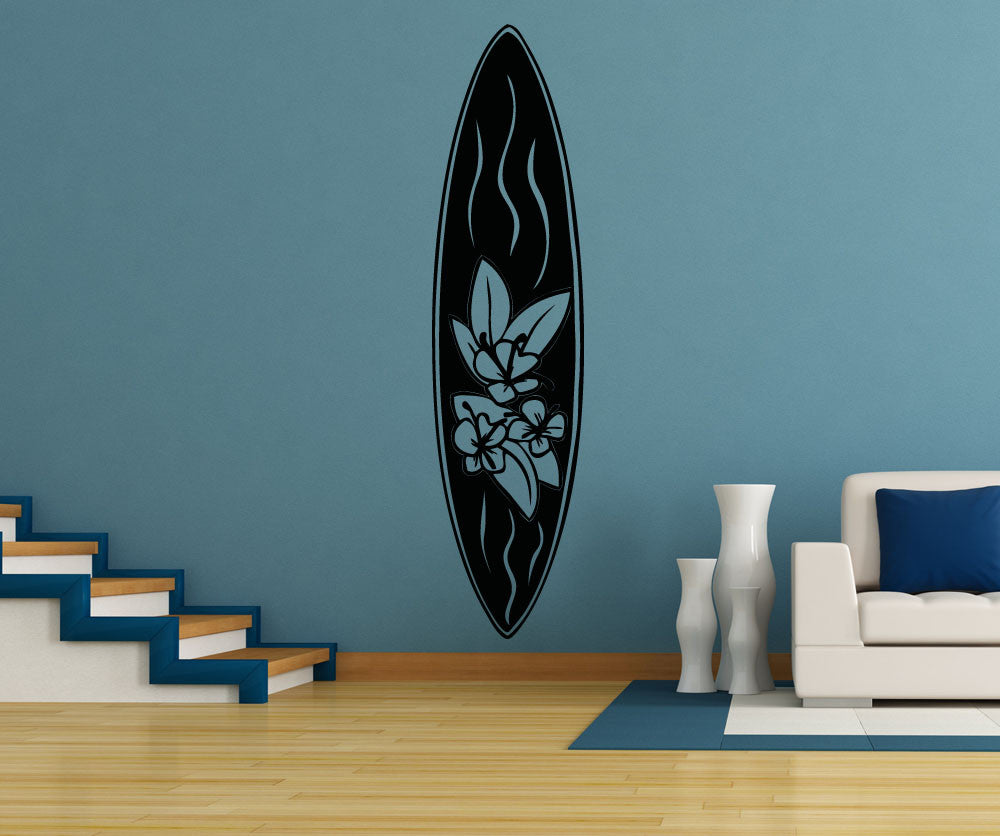 Vinyl Wall Decal Sticker Floral Surfboard Os Aa1239