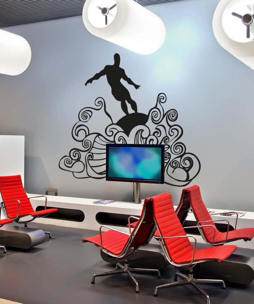 Vinyl Wall Decal Sticker Surfer on Waves #OS_AA1241