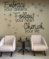Vinyl Wall Decal Sticker Embrace Follow Cherish #OS_AA1263