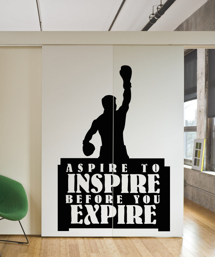 Vinyl Wall Decal Sticker Aspire to Inspire Boxing #OS_AA1266