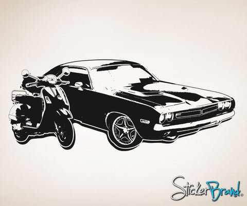 Vinyl Wall Decal Sticker 70's Inspired Car and Motorcycle #OS_AA126