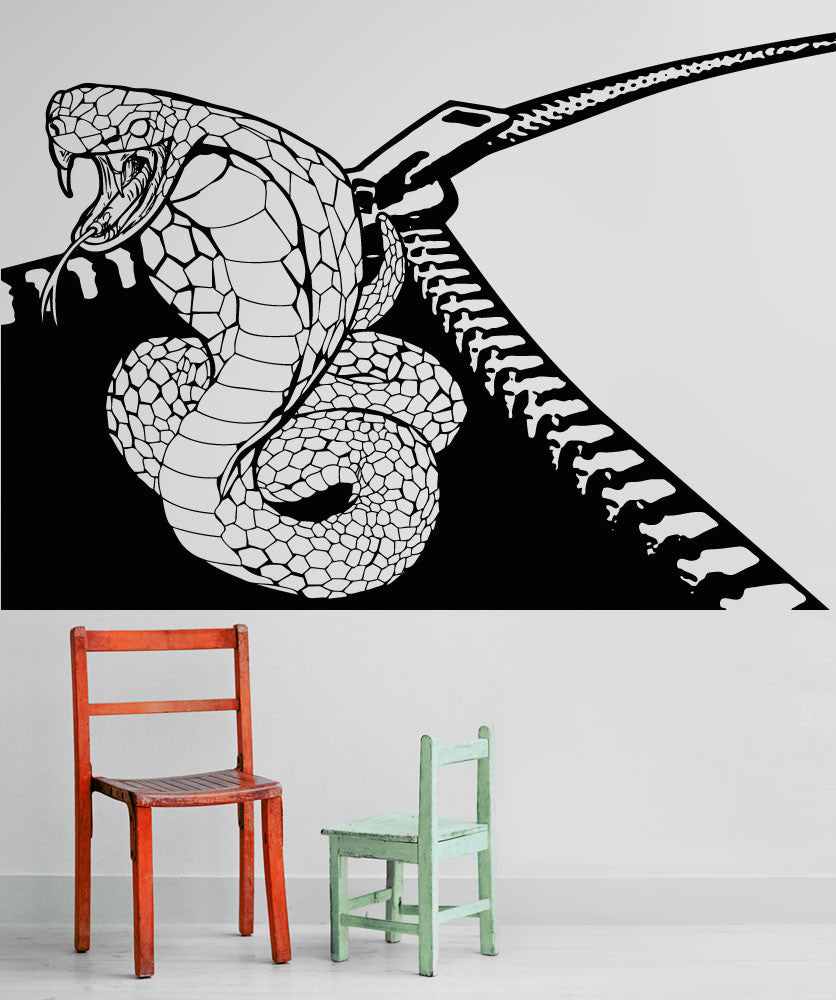 Vinyl Wall Decal Sticker Cobra Zipper #OS_AA1348