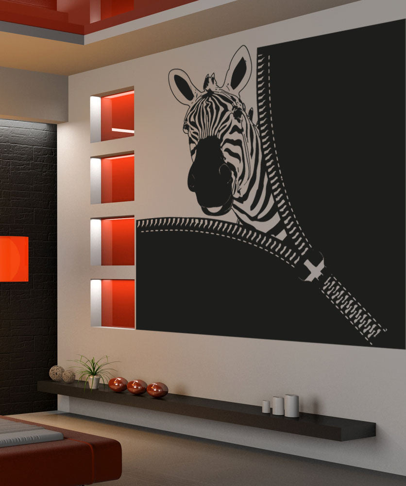 Vinyl Wall Decal Sticker Zebra Zipper #OS_AA1369