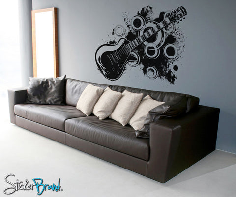 Vinyl Wall Decal Sticker 70's Inspired Electric Guitar #OS_AA136