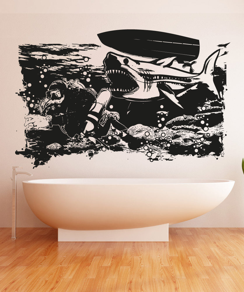 Vinyl Wall Decal Sticker Shark Sneak Attack #OS_AA1370