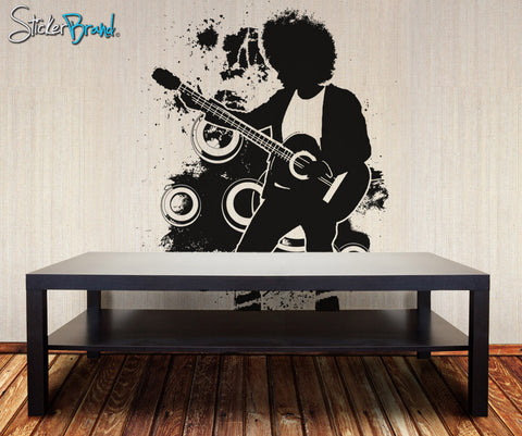 Vinyl Wall Decal Sticker 70's Inspired Guitar Player #OS_AA138