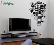 Vinyl Wall Decal Sticker 70's Inspired Guitar #OS_AA139