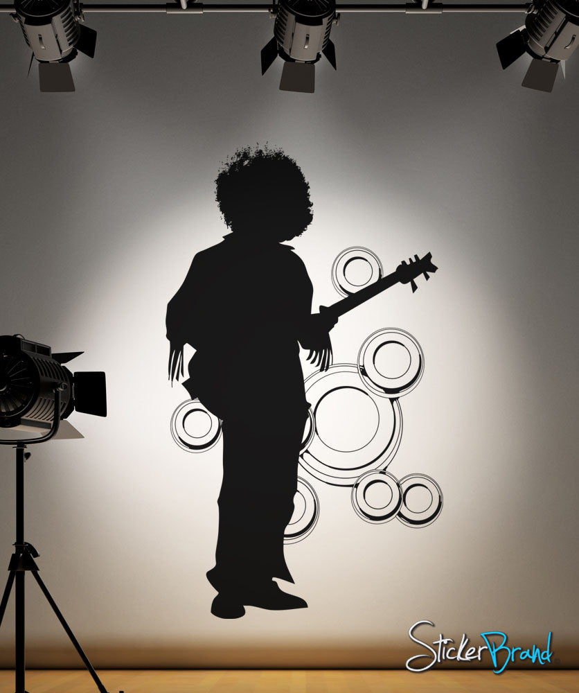 Vinyl Wall Decal Sticker 70's Afro Guitar Player #OS_AA140