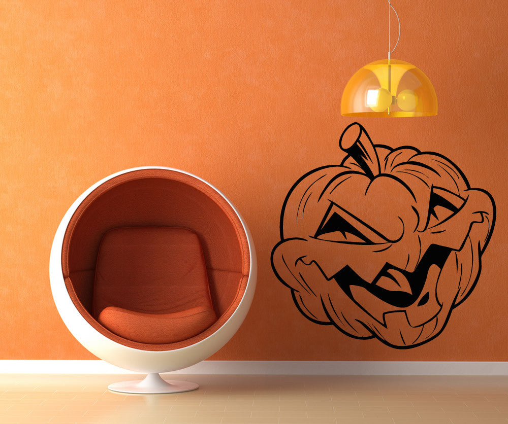 Vinyl Wall Decal Sticker Angry Pumpkin Os Aa1436
