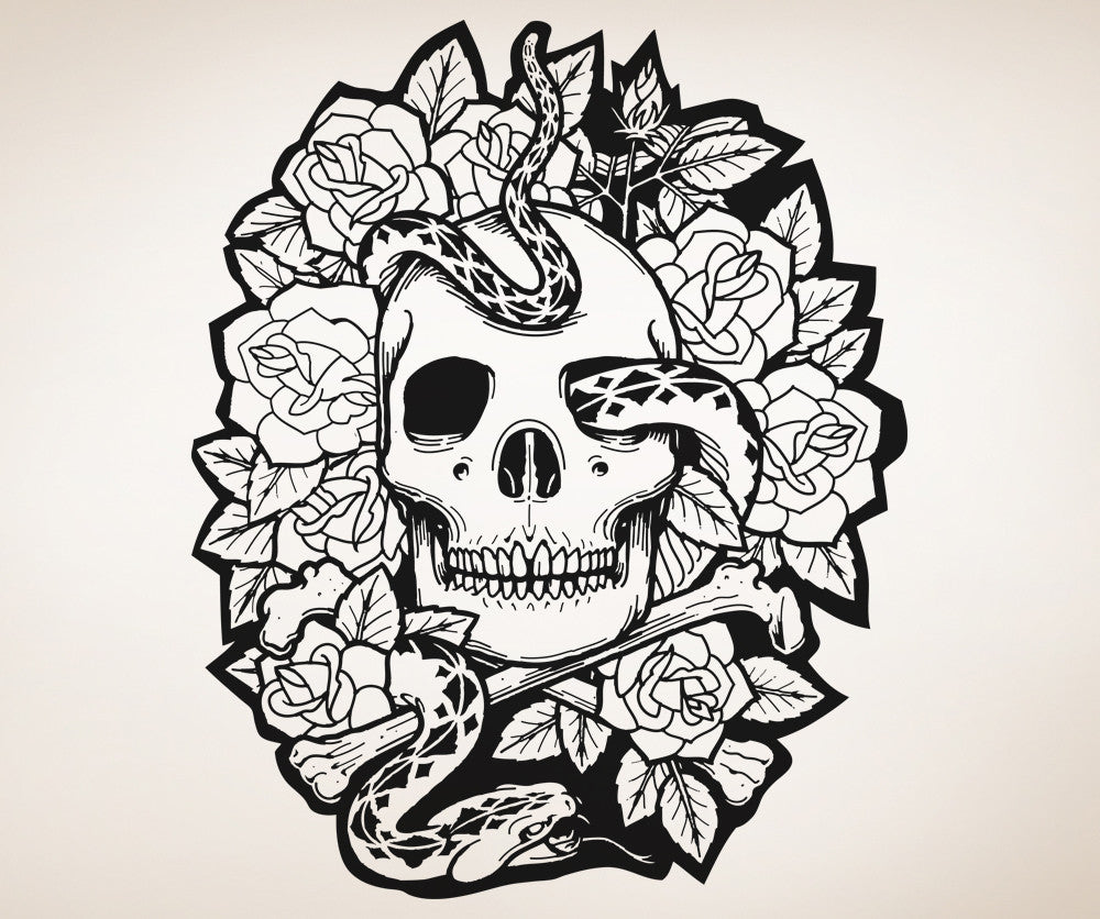 Vinyl Wall Decal Sticker Skull Snake And Roses Os Aa1447