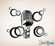 Vinyl Wall Decal Sticker 70's inspired mic #OS_AA145