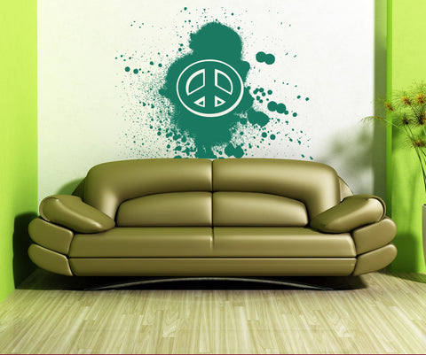 Vinyl Wall Decal Sticker Grunge Peace Sign #OS_AA151