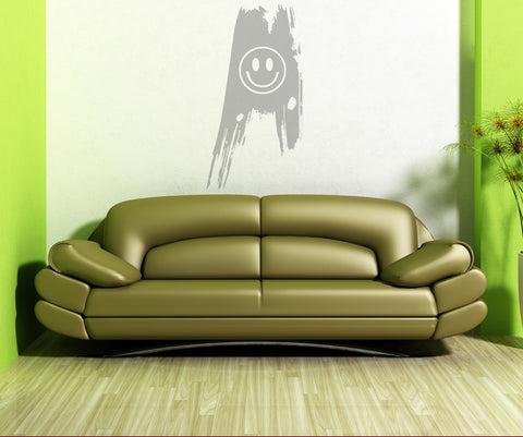 Vinyl Wall Decal Sticker Grunge Smiley Face #OS_AA152
