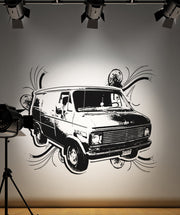 Vinyl Wall Decal Sticker 70's Inspired Van #OS_AA154