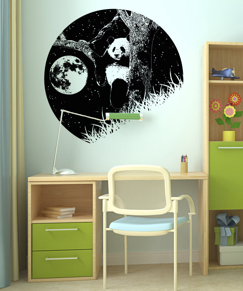 Vinyl Wall Decal Sticker Panda and the Moon OSAA1556