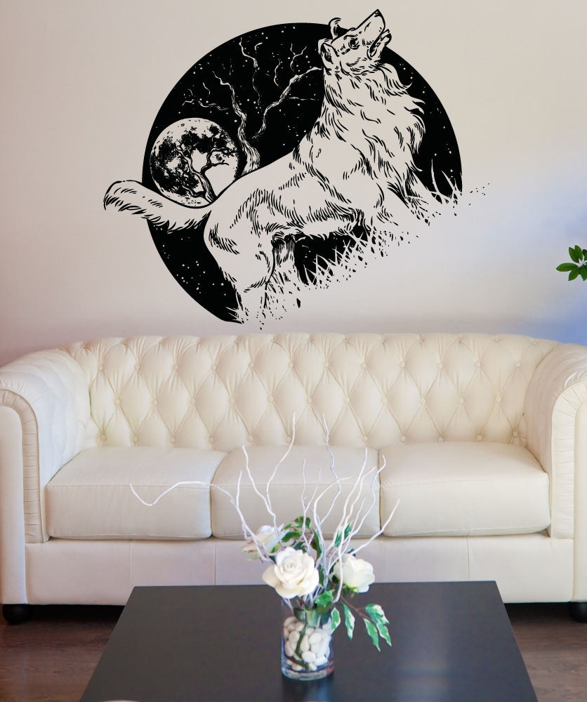 Vinyl Wall Decal Sticker Dog at Night #OS_AA1567