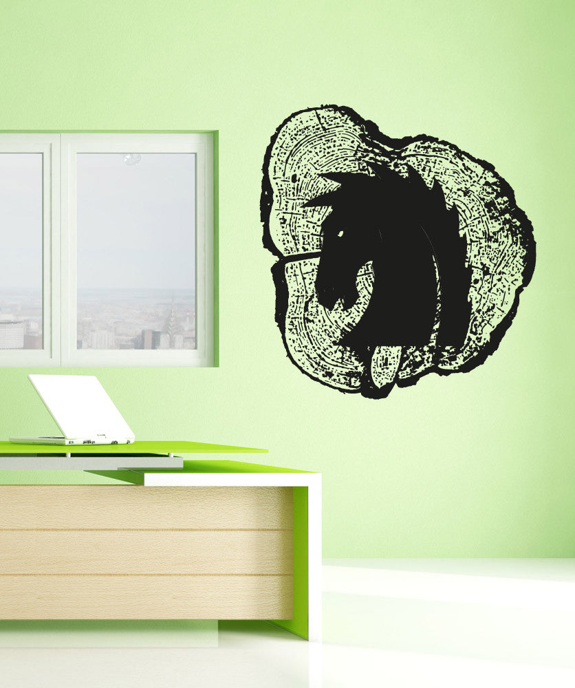 Vinyl Wall Decal Sticker Horse Head Wood Carving OSAA - Wall decals wood