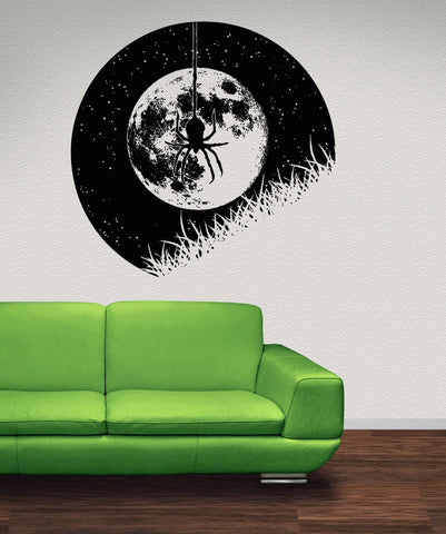 Vinyl Wall Decal Sticker Hanging Spider at Night #OS_AA1645