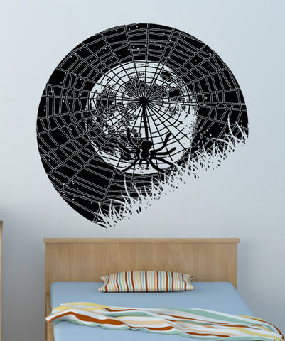 Vinyl Wall Decal Sticker Spider Web at Night #OS_AA1646