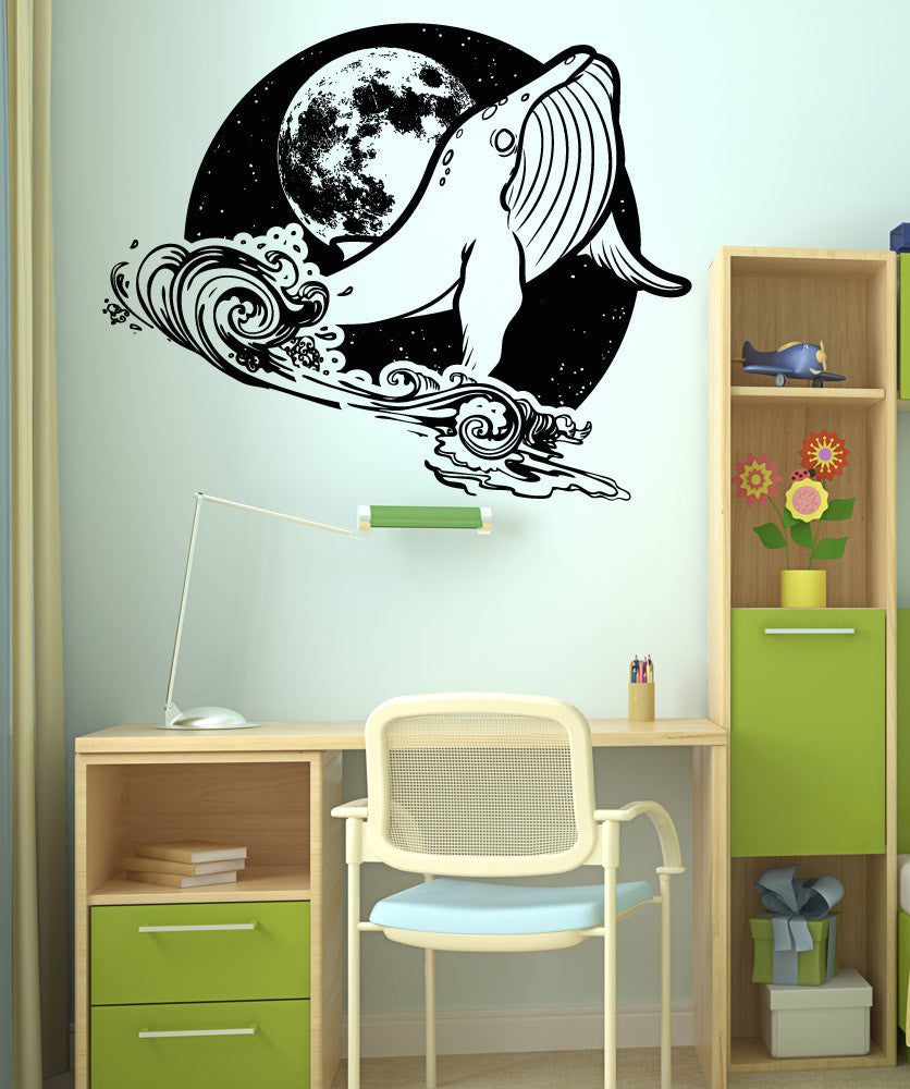 Vinyl Wall Decal Sticker Whale At Night Os Aa1648