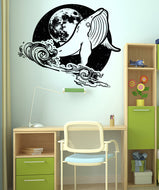 Vinyl Wall Decal Sticker Whale at Night #OS_AA1648