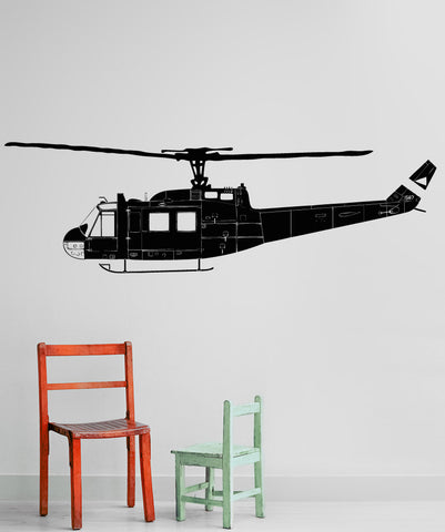 Vinyl Wall Decal Sticker Huey Helicopter Side #OS_AA1654
