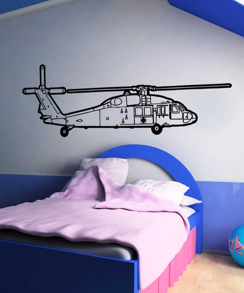Vinyl Wall Decal Sticker Rescue Helicopter Outline #OS_AA1655
