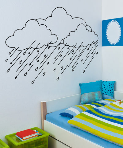 Vinyl Wall Decal Sticker Rain Clouds #OS_AA1694