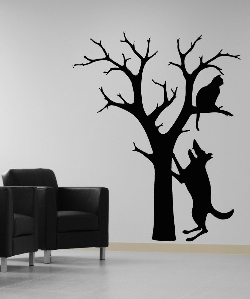 Vinyl Wall Decal Sticker Dog And Cat In Tree Os Aa1709