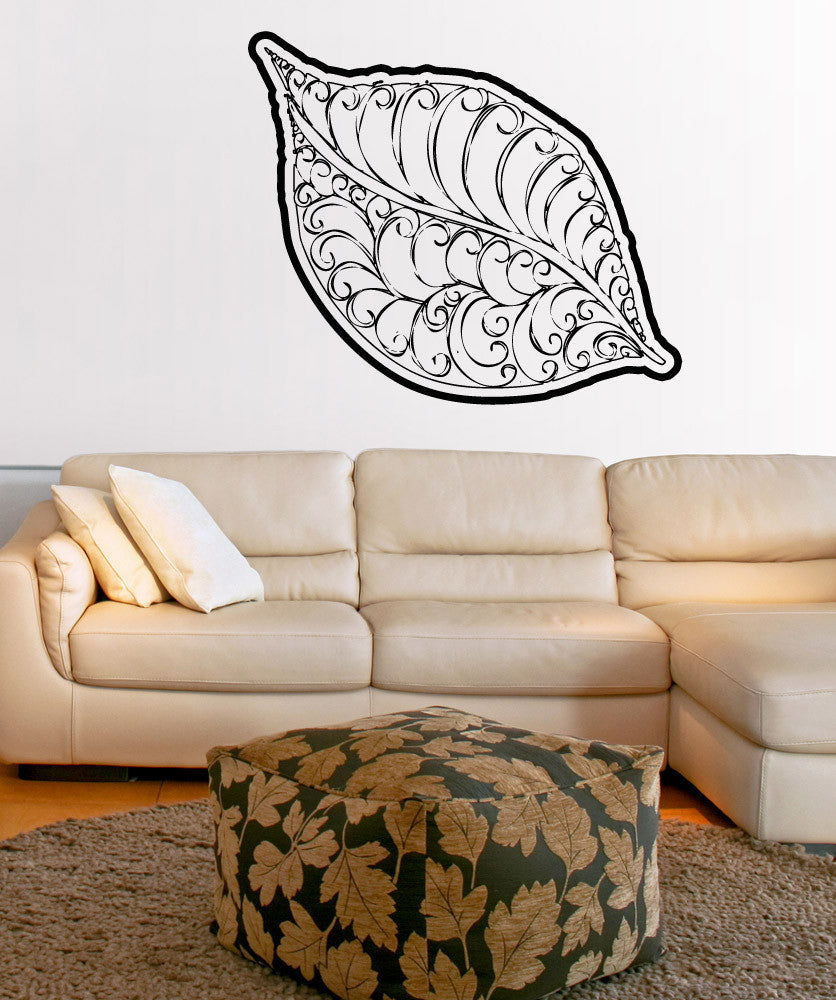 Vinyl Wall Decal Sticker Leaf with Swirls #OS_AA1723