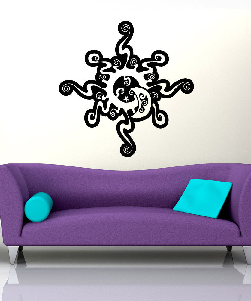 Vinyl Wall Decal Sticker Swirly Sun and Moon #OS_AA1726