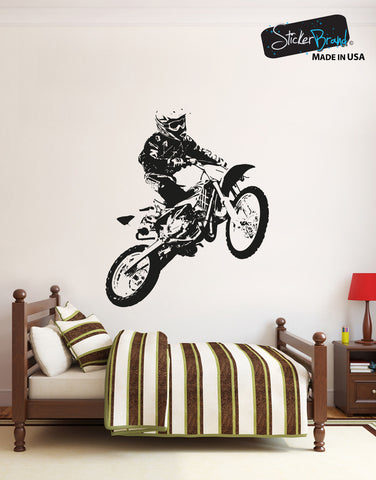 (Clearance Sale) Motocross Rider Vinyl Wall Decal Sticker. #OS_AA194 (BLACK color)