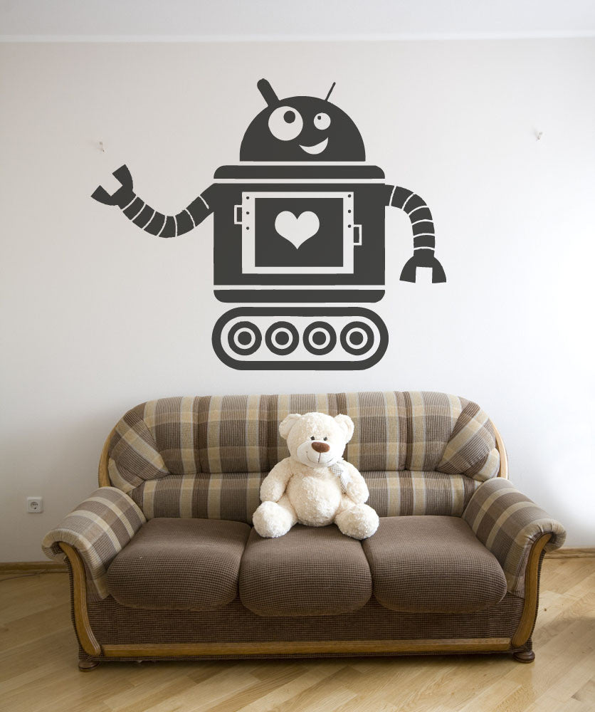 Vinyl Wall Decal Sticker Heart Robot #OS_AA201