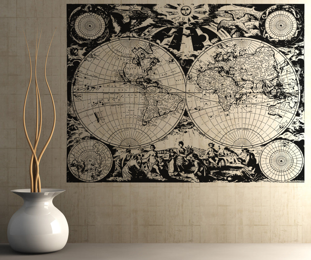 Vinyl wall decal sticker ancient nautical world map osaa322 gumiabroncs Image collections