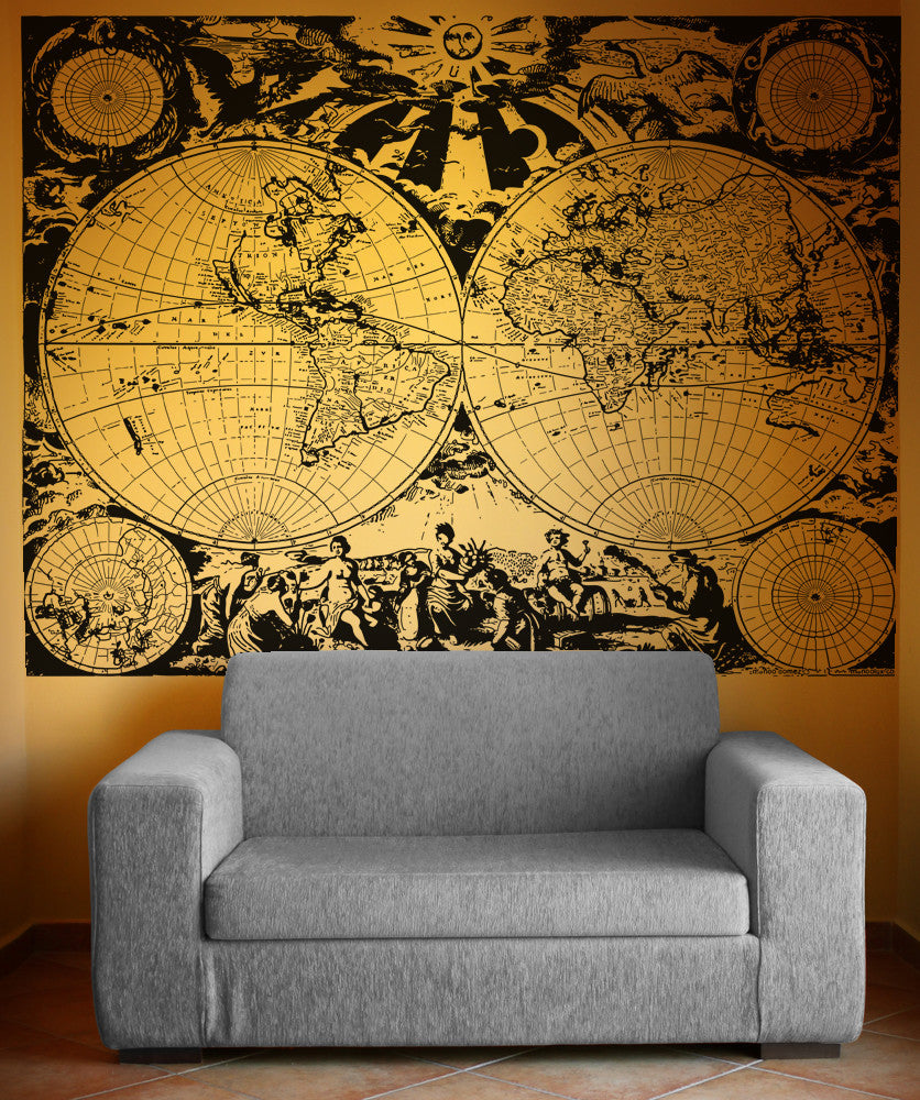 Vinyl Wall Decal Sticker Ancient Nautical World Map #OS_AA322 on map facebook covers, map wall mirror, map wall artwork, west point decal, diamond window decal, map wallpaper, wrench decal, map wall graphics, pirate life decal, map wall clock, trd hood decal, map paper, map united states football league, map wall mural, map your neighborhood, map with title, map shirt, nautical compass decal, wwp decal, map kashmir conflict,