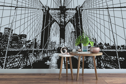 View Through the Brooklyn Bridge in New York City Wall Decal.  #OS_AA550
