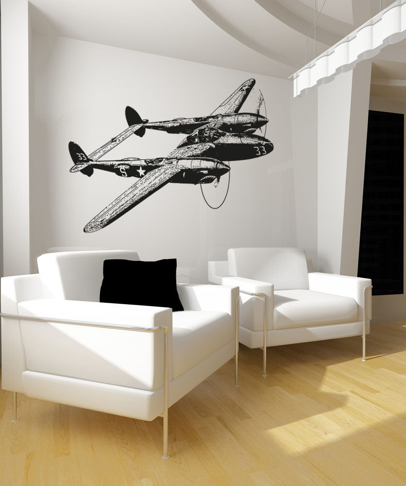 Vinyl Wall Decal Sticker Fighter Plane #OS_AA704